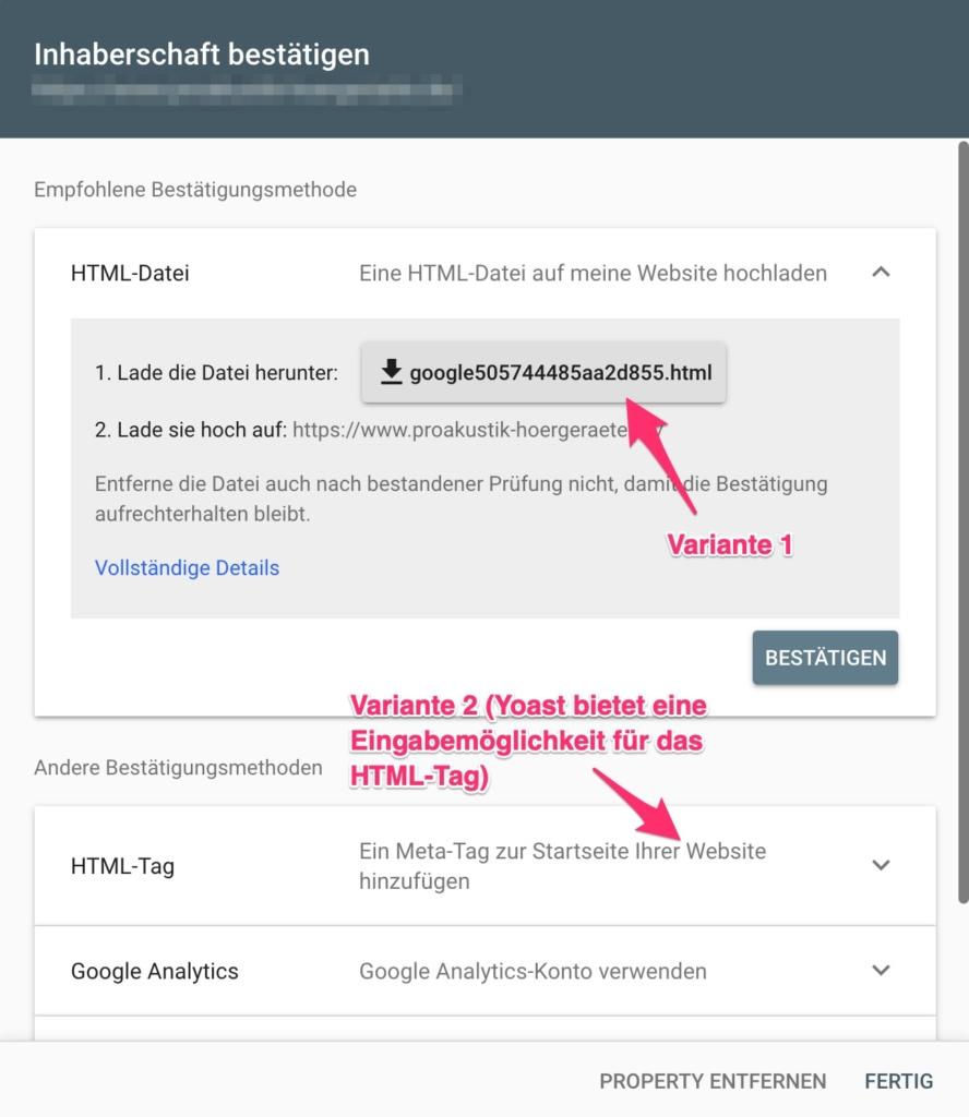 Google Search Console - Website bestätigen mit HTML-Tag oder HTML-Datei