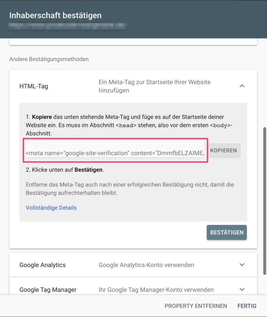 Google Search Console - Website mit Meta-Tag bestätigen