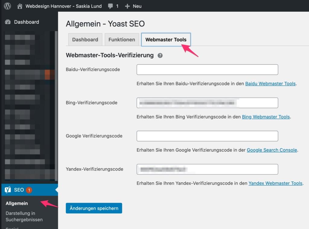 Yoast SEO - Allgemein - Reiter: Webmaster Tools