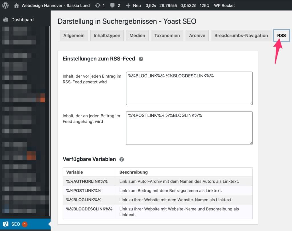 Yoast SEO - Darstellung in den Suchergebnissen - RSS Feed