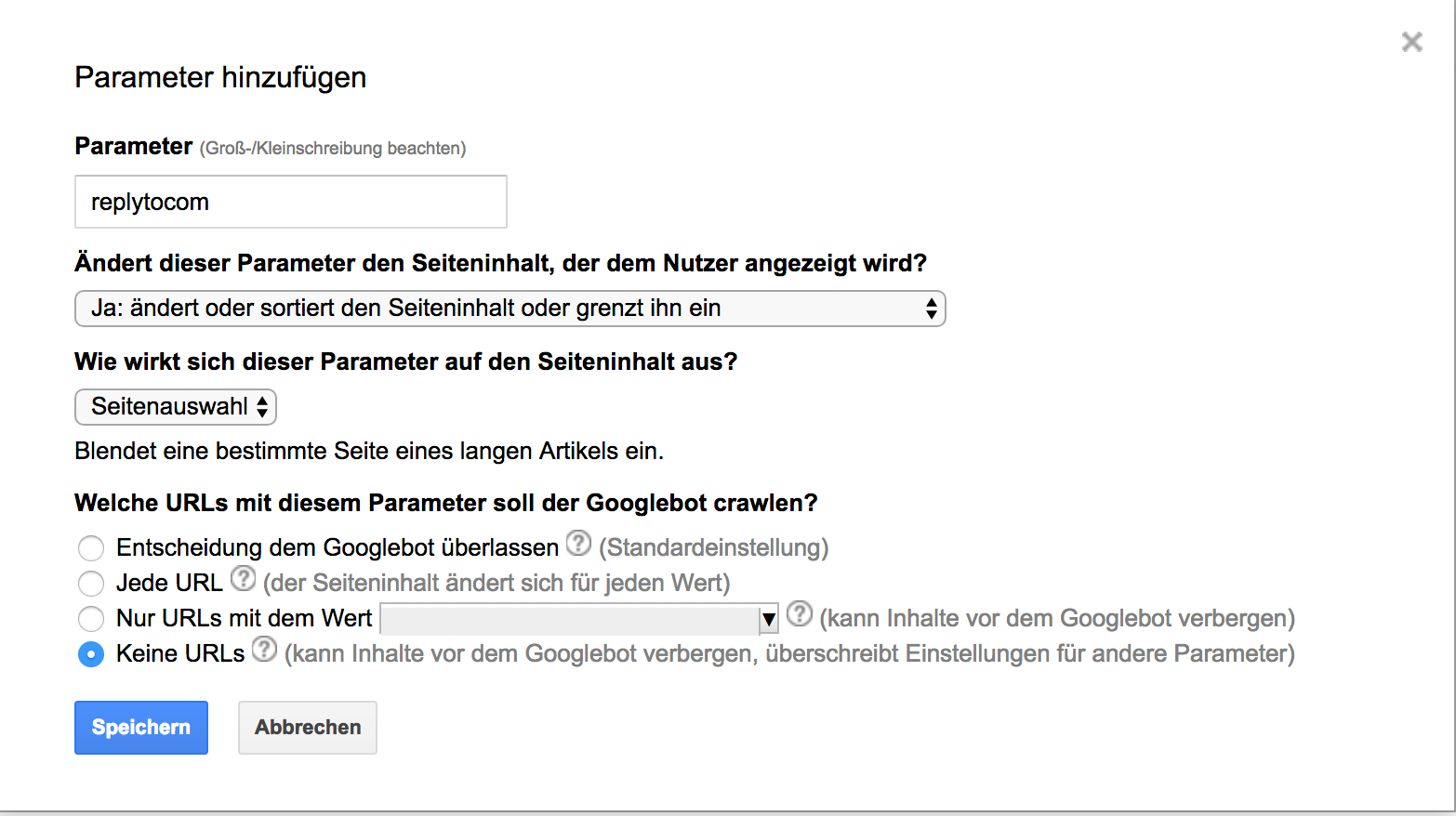 Google Search Console - URL-Parameter replytocom richtig einstellen