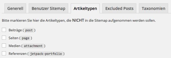 Yoast SEO XML Sitemaps Artikeltypen