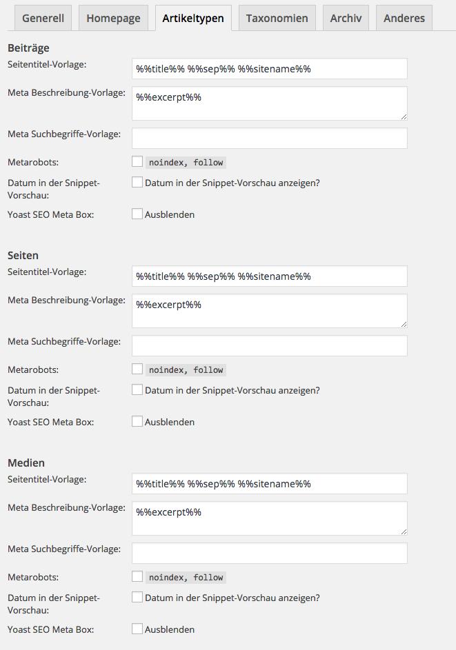 Artikeltypen - SEO Titel Vorlagen