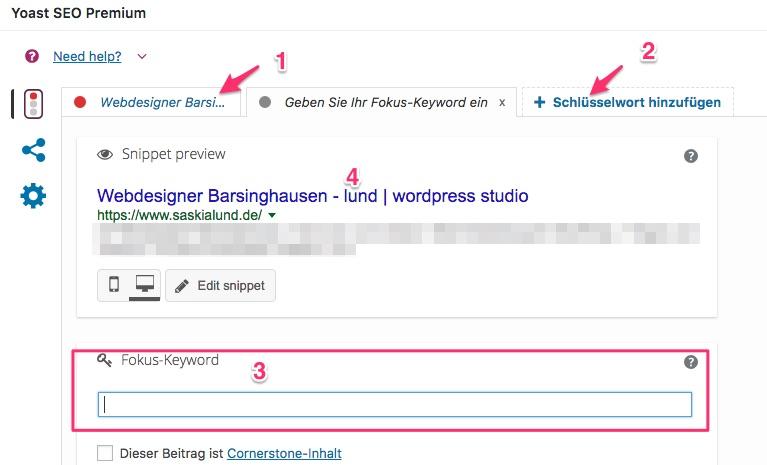 Screenshot der Yoast SEO Box innerhalb des Seiten- bzw. Beitragseditors in WordPress
