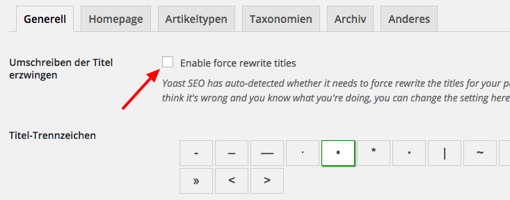 Enable force rewrite rules - markieren Sie diese Checkbox, wenn Ihr Seitentitel doppelt dargestellt wird.