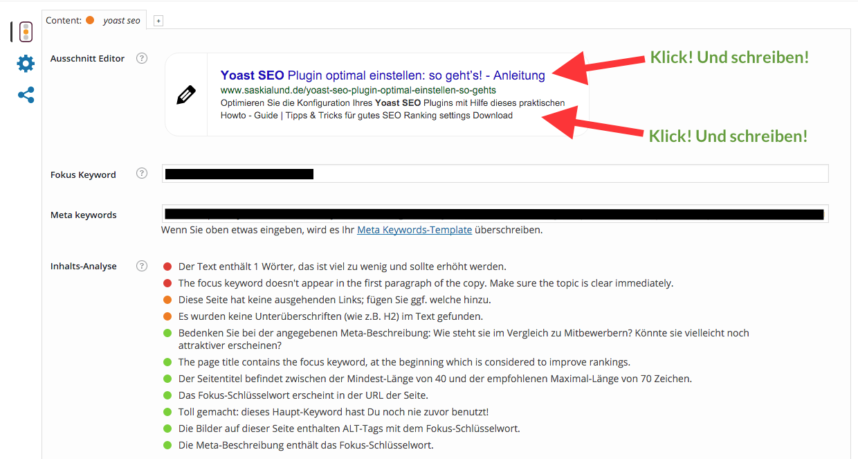 Yoast SEO Box - Optimierungsbox