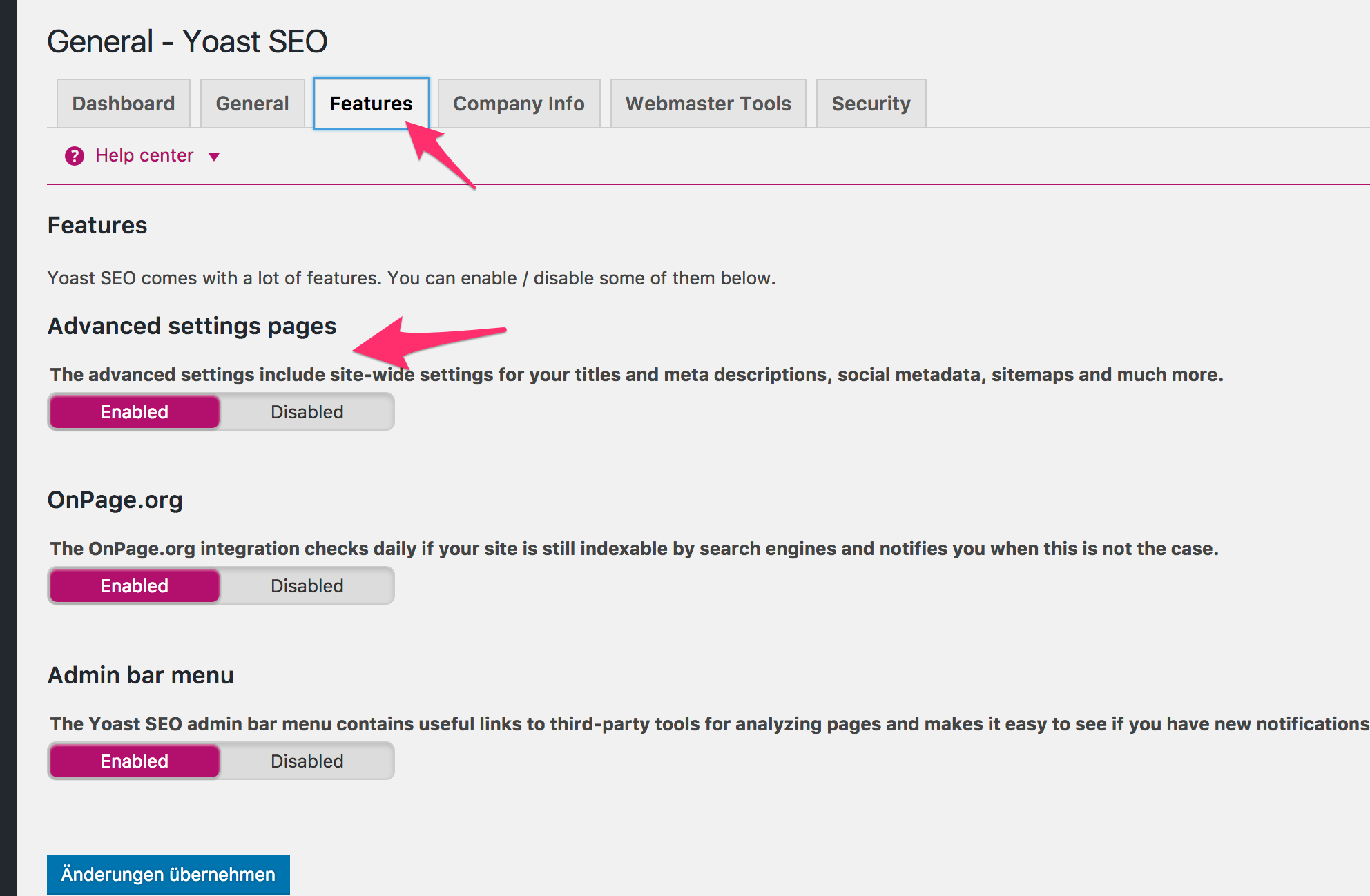 YOAST SEO - Features Reiter - Keyword Analyse aktivieren