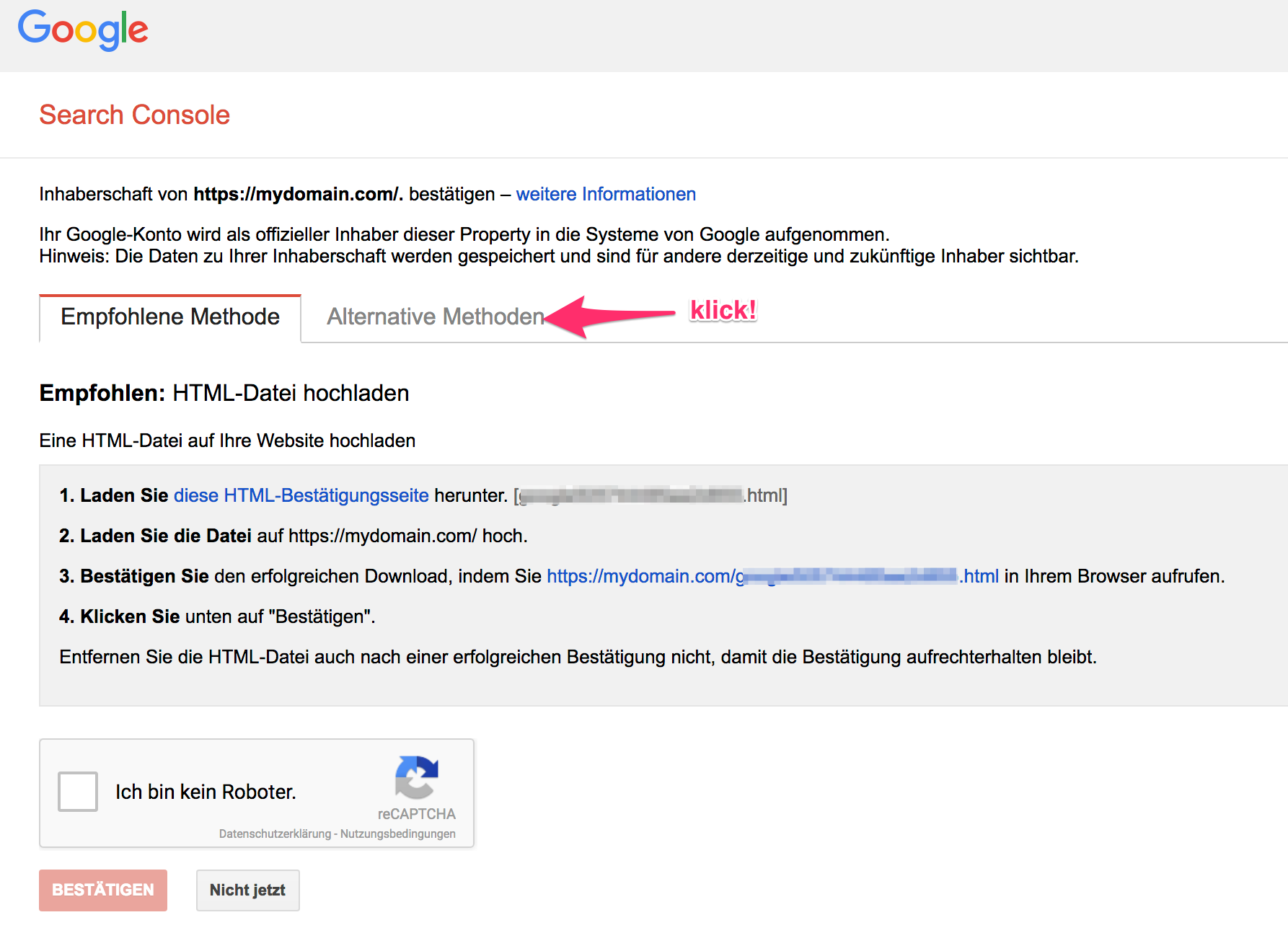 Google Search Console - Verifikation