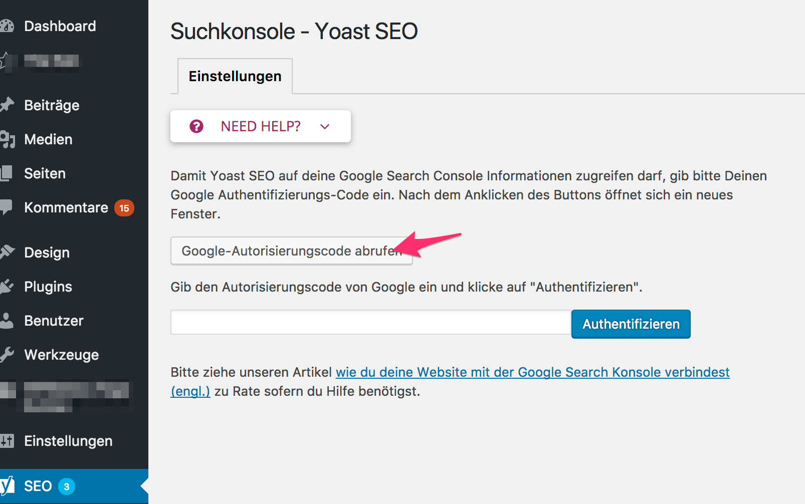 Yoast SEO Search Console Authentifizierung