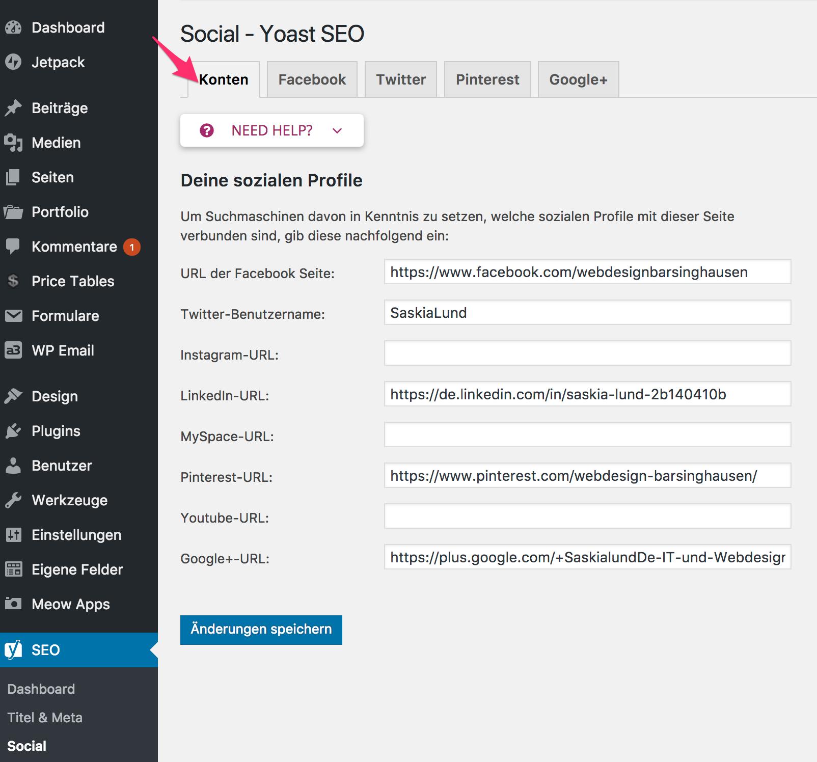 Yoast SEO - Social - Kontent