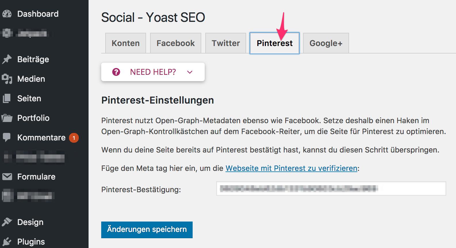 Yoast SEO Pinterest