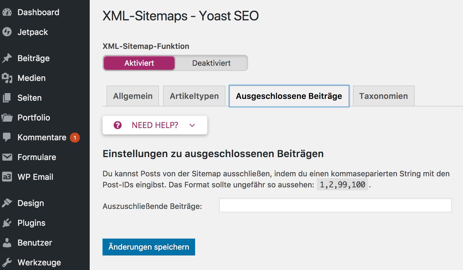Yoast SEO XML Sitemaps - ausgeschlossene Beiträge