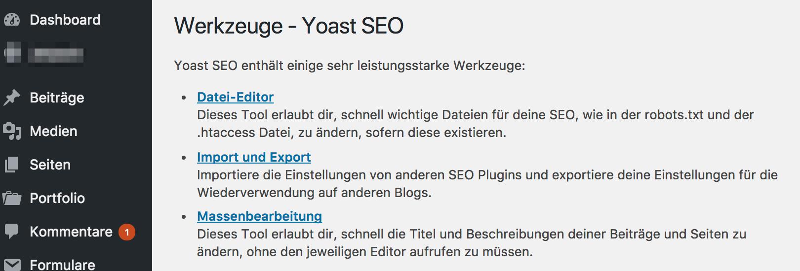 Yoast SEO Werkzeuge