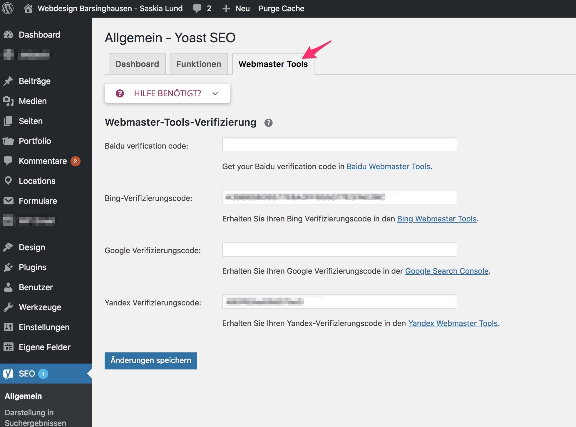 Yoast 7.x - Allgemein - Reiter: Webmaster Tools
