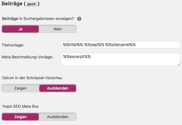 Yoast SEO 7 - Optionen für einzelne Inhaltstypen