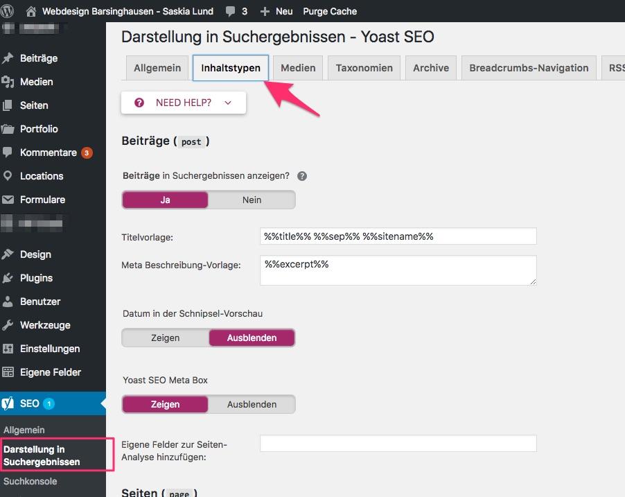 Yoast SEO 7.x - Darstellung in den Suchergebnissen - Reiter: Inhaltstypen