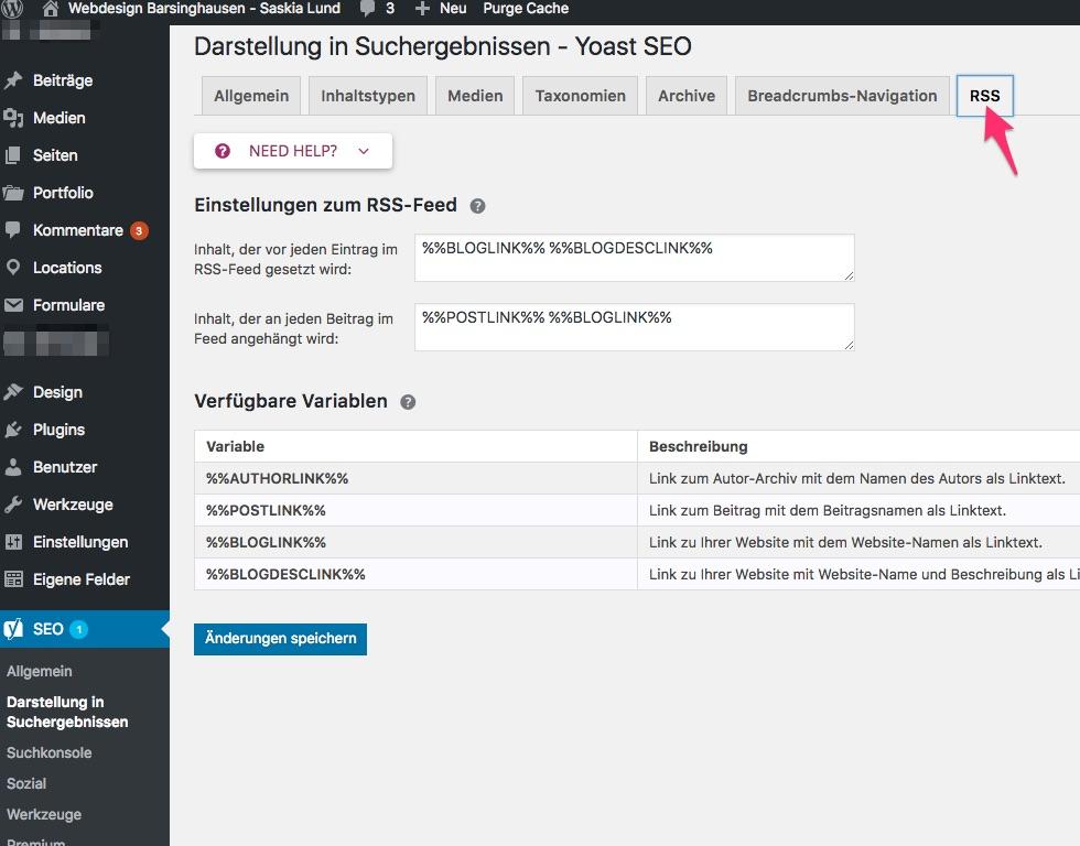 Yoast SEO 7.x Darstellung in den Suchergebnissen - RSS